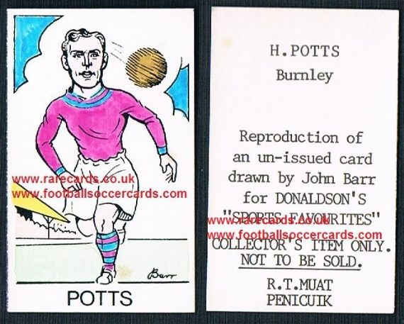 1968 Barr Muat Donaldson unissued promo art card 1948Harry Potts Burnley Everton Blackpool